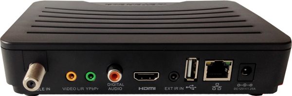 Cable In, Video L/R, YPbPr, Digital Audio, HDMI, Ext IR In, USB, Ethernet, DC 12V