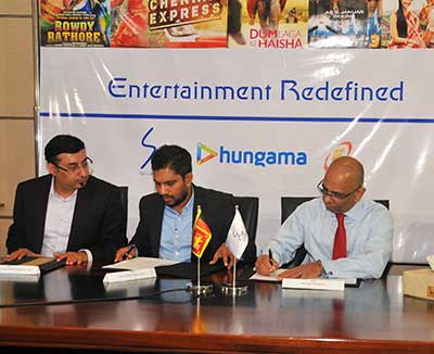 The agreement signing took place at SLT premises. Group CEO of SLT, Dileepa Wijesundera signed on behalf of SLT while Siddharth Roy, CEO of Hungama signed on behalf of Hungama and Lahiru Wickramasinghe, CEO of Evoke, on behalf of Evoke.