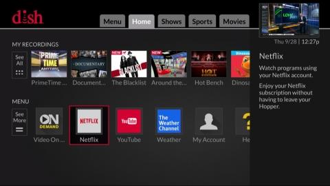 DISH Network - Netflix Home Menu Screen