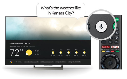 The Google Assistant on Sony TV works just by pushing the microphone button on the remote and using your voice to ask a question or say a command