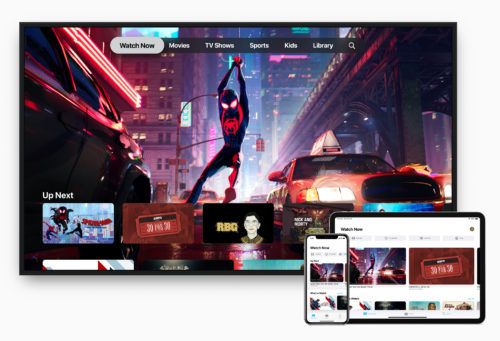Apple TV iPad Pro, iPhone Watch Now screen