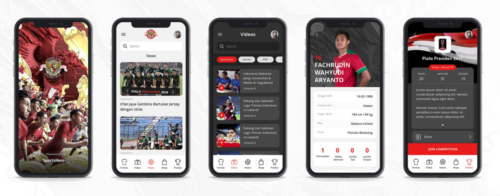 "Sample screens from the 'Kita Garuda' mobile app, developed by SportsHero for the  Football Association of Indonesia (""PSSI"")"