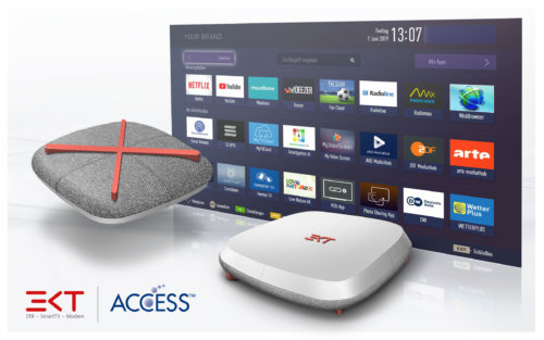 An EKT connected set-top box integrated with ACCESS' NetFront™ Browser BE, and the NetRange Application Store