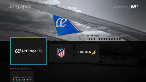 Movistar+ Living Apps screen