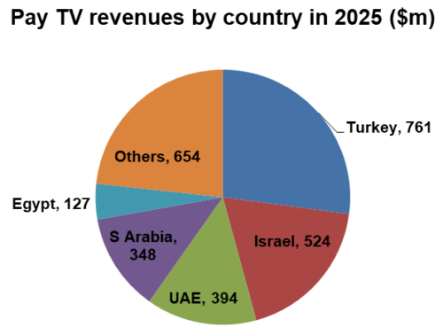 Pay TV revenues by MENA country in 2025 - Turkey, Israel, UAE, Saudi Arabia, Egypt, Others