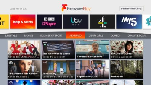 Freeview Play screen