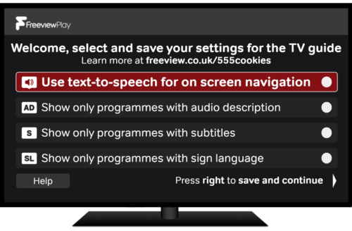 Accessible TV Guide welcome screen - Freeview Play
