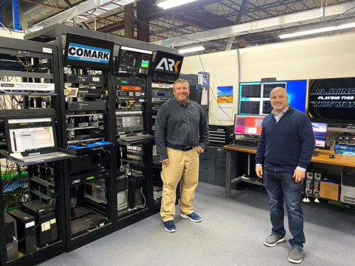 Jason Fiore (left), International Sales and Business Development for Hitachi Kokusai Electric Comark LLC and Joshua Weiss (right), Co-Founder and CEO for ARK Multicasting, Inc. after the successful edge cache last mile test.