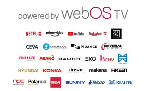 Large 'powered by webOS TV' logo with smaller logos of 26 brands joining the webOS TV ecosystem