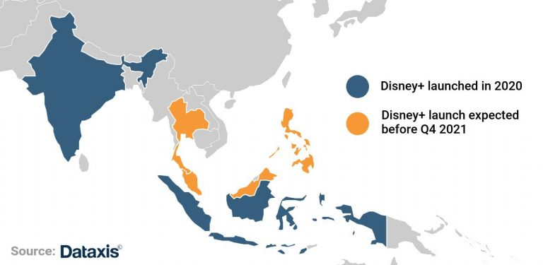 Disney+ in Southern Asia map