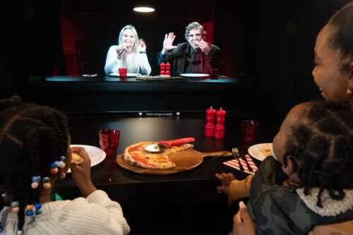 Two Hearts hologram Pizzeria