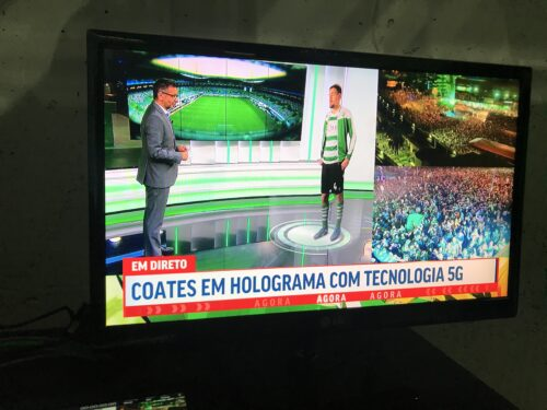 Hologram of Sporting CP Captain Sebastian Coates during interview following teams' win on May 11