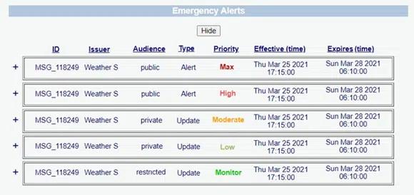 AEA Advanced Emergency Alerts example